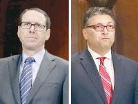 """מנכ""""ל AT&T, רנדל סטפנסון, והממונה על ההגבלים בארה""""ב, מייקן דלרהים. / צילומים: רויטרס"""