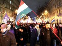 ההפגנות בבודפשט/ צילום: רויטרס  Bernadett Szabo