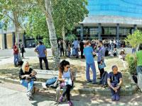 מתמחים ממתינים לבחינת הלשכה בירושלים. / צילום: רפי קוץ