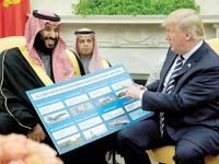 הנסיך מוחמד בן סלמאן מציג לטראמפ את רשימת הרכש / צילום: רויטרס, Jonathan Ernst
