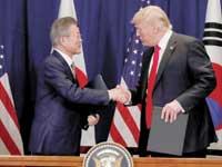 טראמפ ונשיא דרום קוריאה מון ג'יאה־אין / צילום: רויטרס, Carlos Barria