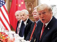 """נשיאי ארה""""ב וסין, טראמפ ושי / צילום: רויטרס Kevin Lamarque"""