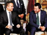 ראשי הקואליציה האיטלקית, מתאו סלביני  ולואיג'י די מאיו./ צילום: רויטרס Remo Casilli