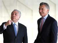 נשיא ארגנטינה מאוריסיו מאקרי ונשיא ברזיל מישל טמר/ צילום: רויטרס Adriano