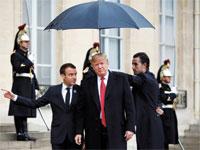 הנשיא טראמפ עם הנשיא מקרון. / צילום: רויטרס Vincent Kessler