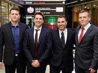 נדב צפריר, ישראל גרימברג לירן גרינברג ואסף מסחרי מטים 8/ צילום: London Stock Exchange