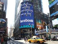 """שלט של בורסת נאסד""""ק המבשר על הנפקת פייסבוק במאי 2012 /"""
