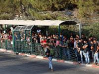 פועלים פלסטינים שמחכים להיכנס לאזור התעשייה בברקן /צילום: רויטרס