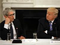 "דונלד טראמפ ומנכ""ל אפל טים קוק / צילום: רויטרס"
