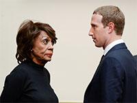 """חברת הקונגרס מקסין ווטרס ומנכ""""ל פייסבוק מארק צוקרברק / צילום: רויטרס"""