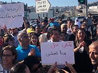 """הפגנות נגד האלימות בחברה הערבית (במרכז: ח""""כ עודה) / צילום: הרשימה המשותפת"""