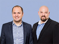 "אילן ארד קשת (מימין), מנכ""ל יצירה, וגיא ניסנזון, יו""ר ובעלים  / צילום: SHANNON STAPLETON, רויטרס"