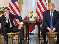 """טראמפ ומקרון בוועידת נאט""""ו / צילום: רויטרס"""