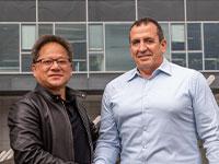 """ג'נסן הואנג, מנכ""""ל ומייסד אנבידיה, ואיל וולדמן, מנכ""""ל ומייסד מלאנוקס  / צילום: כדיה לוי"""