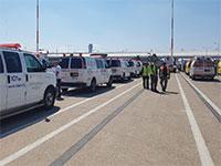 """ריכוז כוחות מד""""א בנתב""""ג לקראת נחיתת חירום מתוכננת מגרמניה / צילום: מד""""א"""