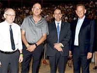 """יוחנן לוקר, ד""""ר שלומי קודש, פרופ' גל איפרגן ופרופ' אהוד דודסון  / צילום: רחל דוד - סורוקה,"""