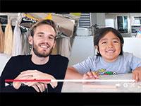 """ריאן, יוטיובר שמפרסם ביקורות על צעצועים ופליקס המכונה """"פיודיפאי, יוטיובר ומבקר בנושאי גיימינג ומדיה / אילוסטרציה: מתוך יוטיוב"""