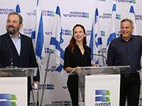 ניצן הורוביץ, סתיו שפיר ואהוד ברק - המחנה הדמוקרטי / צילום: כדיה לוי