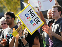 מחאת הנשים במטה החברה בקליפורניה / צילום: רויטרס