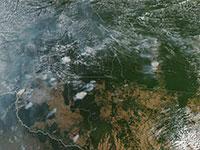שריפות ביערות האמזונס, ברזיל. צילום לווין / צילום: NASA Goddard Space Flight Center