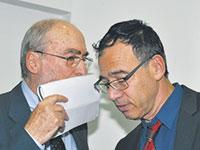 פרקליט המדינה שי ניצן ונשיא העליון לשעבר, השופט (בדימוס) אשר גרוניס / צילום: יוני המנחם