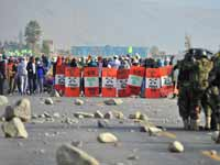 הפגנות נגד אישור המכרה בטיה מריה/ צילום: רויטרס - Diego Ramos
