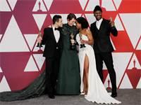 רמי מאלק, אוליביה קולמן, רג'ינה קינג ומהרשלה עלי, הזוכים באוסקר לשחקן הראשי ושחקן המשנה / צילום: REU