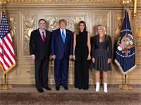 """הנשיא טראמפ ורעייתו וישראל כ""""ץ ורעייתו / צילום: הבית הלבן"""