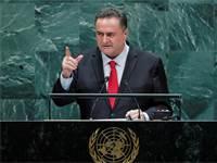 """ישראל כ""""ץ בעצרת האו""""ם / צילום: Eduardo Munoz, רויטרס"""