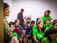 תמר זנדברג במפגש עם נוער מרצ בתל אביב / צילום: שלומי יוסף