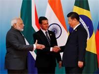 מנהיגי סין, הודו ומקסיקו בפסגת מדינות ה-BRICS ב-2017 / צילום: רויטרס