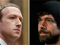 ג'ק דורסי, מייסד טוויטר, מול מארק צוקרברג, מייסד פייסבוק / צילום: רויטרס