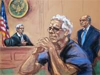 איור של ג'פרי אפשטיין בבית המשפט / צילום: רויטרס