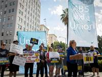 הפגנה שתומכת בחוקי AB 5 בקליפורניה / צילום: USA TODAY NETWORK, רויטרס
