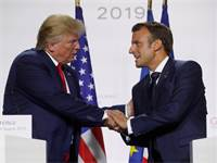 """נשיא צרפת עמנואל מקרון ונשיא ארה""""ב דונלד טראמפ ב-G7 / צילום: Christian Hartmann, רויטרס"""
