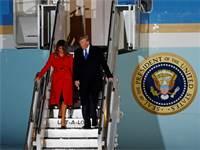 """דונלד ומלאניה טראמפ נוחתים בלונדון לקראת ועידת נאט""""ו / צילום: Peter Nicholls, רויטרס"""