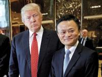 """ג'ק מא, יו""""ר עליבאבא הסינית, ונשיא ארצות הברית דונלד טראמפ /  צילום: רויטרס צילום: Mike Segar"""