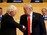 """נשיא ארה""""ב דונלד טראמפ  ומקבילו הבריטי, בוריס ג'ונסון./  צילום: רויטרס KEVIN LAMARQUE"""