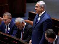 נתניהו וחברי ממשלתו בהשבעת הכנסת/ צילום: רויטרס