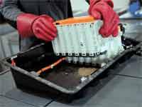 מחזור סוללת רכב חשמלי במפעל בגרמניה/ צילום: רויטרס