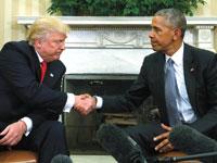 אובמה מקבל את טראמפ בבית הלבן . לאחר שניצח בבחירות, נובמבר 2016 / צילום: רויטרס Kevin Lamarque