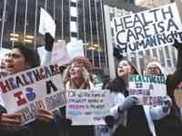 הפגנה נגד כוונת הנשיא טראמפ לבטל את רפורמת אובמה קר / צילום:  רויטרס, Lucas Jackson