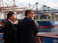 נשיא סין, שי ג'ינפינג  וראש ממשלת יוון, קיריאקוס מיצוטקיס, / צילום: רויטרס