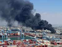 שריפה בשמן תעשייה בנמל חיפה/ צילום: אילן מלסטר , המשרד להגנת הסביבה