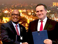 שר התחבורה והמודיעין, ישראל כץ ושגריר רואנדה בישראל, גוזף רוטאבאנה / צילום: משרד התחבורה