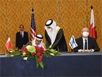 """חתימת ההצהרה המשותפת לכינון קשרי דיפלומטיה ושלום עם בחריין  / צילום: חיים צח, לע""""מ"""