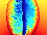 """הדמיית סילון אנרגיה הנע דרך חומר במהירות שקרובה למהירות האור. מחקר של פרופ' אהוד נקר מאוני' ת""""א / צילום מתוך התערוכה """"היופי במדע"""""""