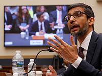 סונדאר פיצ'אי מעיד בועדת השיפוט של הקונגרס האמריקאי בנושא שימוש בנתוני משתמשים בגוגל / צילום: Jim Young, רויטרס