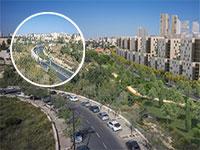קירוי דרך בגין בירושלים (בעיגול: תחילת העבודות כיום) / הדמיה: דגן פתרונות ויזואליים, משרד אדריכלים קולקר-קולקר-א