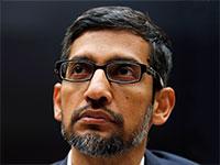 """מנכ""""ל גוגל, סונדאר פיצ'אי. התגובה של גוגל היא ניסיון להציג עצמה כחלום ההייטק / צילום: Jim Young, רויטרס"""